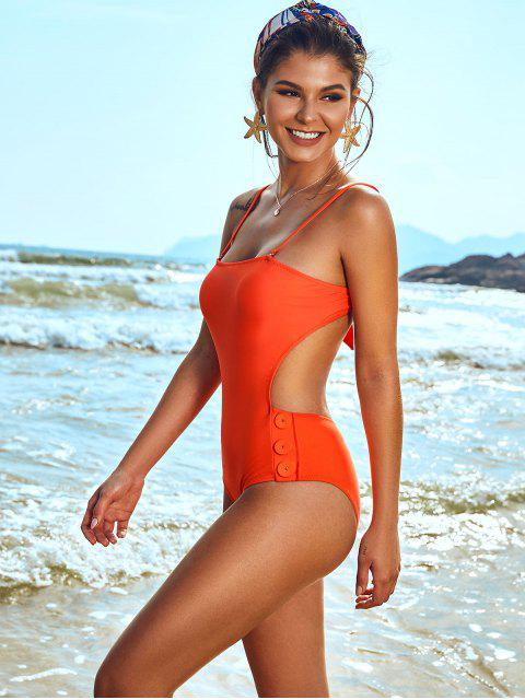 shop ZAFUL Buttoned Tied Backless Cutout One-piece Swimsuit - ORANGE S Mobile