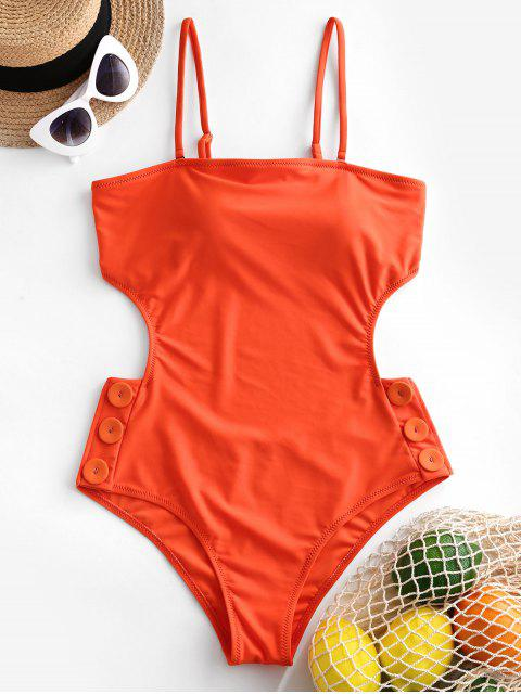 shops ZAFUL Buttoned Tied Backless Cutout One-piece Swimsuit - ORANGE M Mobile