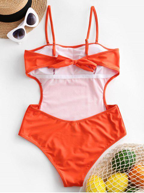 women ZAFUL Buttoned Tied Backless Cutout One-piece Swimsuit - ORANGE XL Mobile