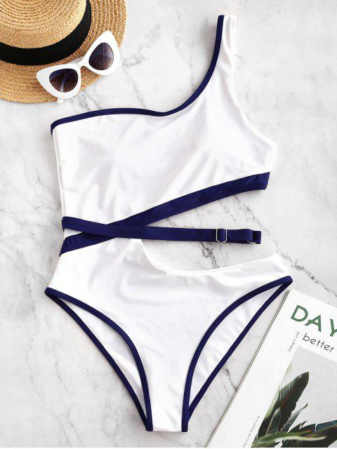 shop ZAFUL Contrast Piping Cutout One Shoulder One-piece Swimsuit - WHITE XL Mobile
