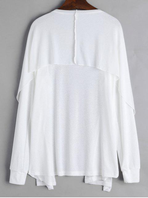 trendy Collarless Open Front Longline Cover Up - WHITE XL Mobile