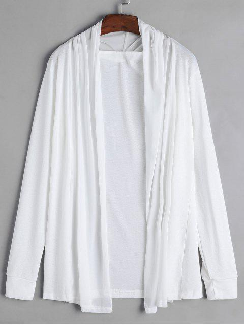 fashion Collarless Open Front Longline Cover Up - WHITE M Mobile
