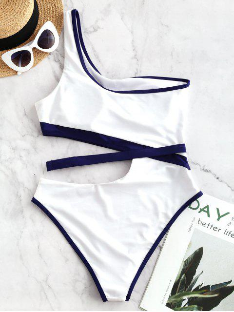chic ZAFUL Contrast Piping Cutout One Shoulder One-piece Swimsuit - WHITE M Mobile
