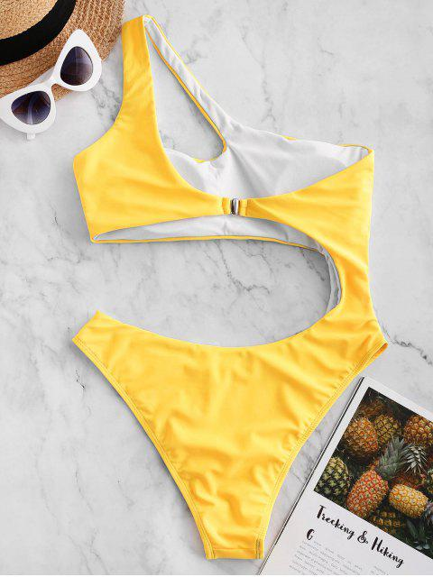 buy ZAFUL Cutout One Shoulder One-piece Swimsuit - RUBBER DUCKY YELLOW XL Mobile