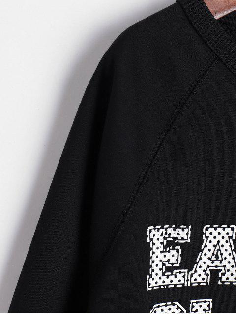 口號打印插肩袖寬鬆運動衫 - 黑色 M Mobile