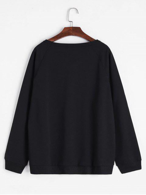 Raglanärmel Weites Sweatshirt mit Slogan Druck - Schwarz XL Mobile