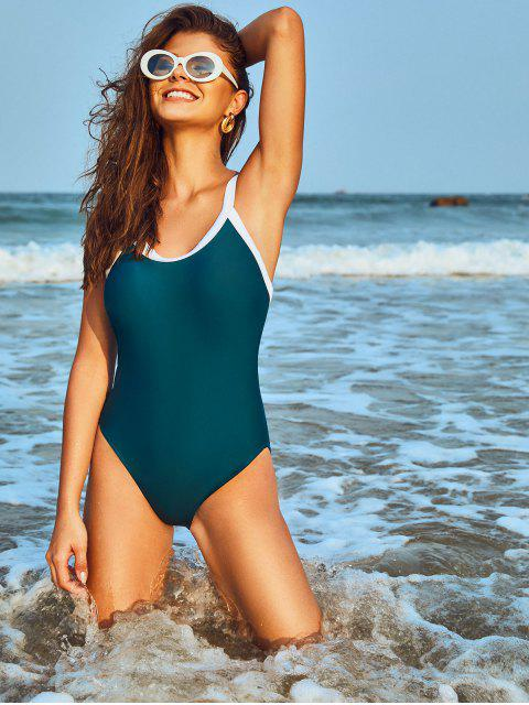 shops ZAFUL Contrast Trim Padded One-piece Swimsuit - BLUE L Mobile