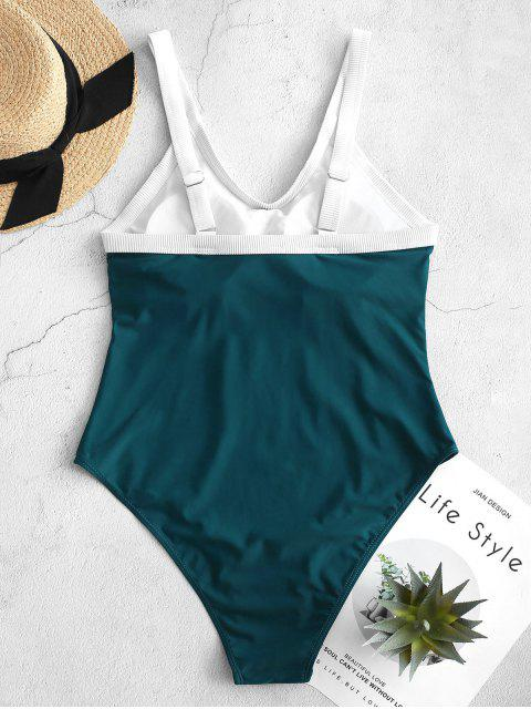 chic ZAFUL Contrast Trim Padded One-piece Swimsuit - BLUE M Mobile