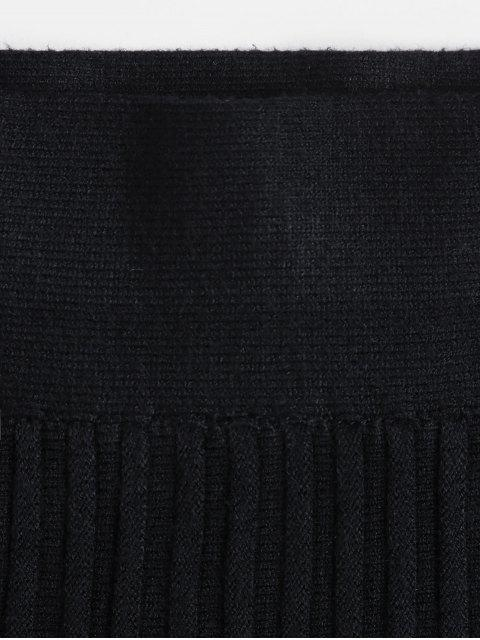 百褶的MIDI線針織裙 - 黑色 One Size Mobile