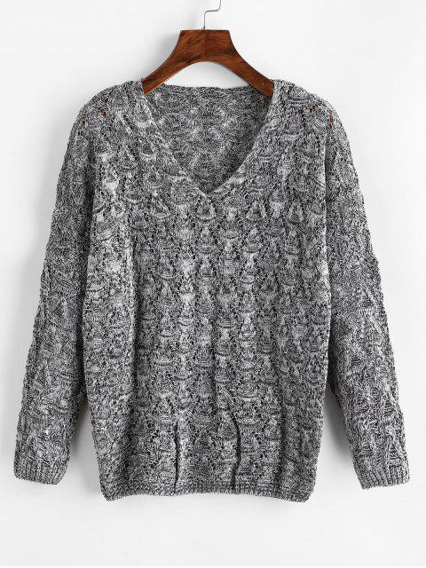 shops Mixed Yarn Batwing Sleeve Open Knitwear - GRAY ONE SIZE Mobile
