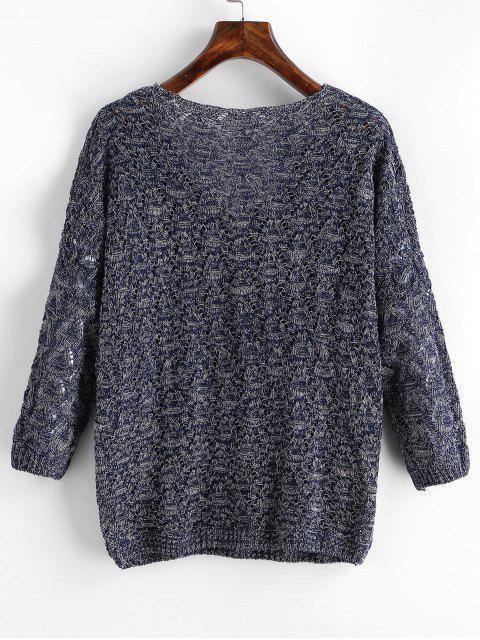 buy Mixed Yarn Batwing Sleeve Open Knitwear - DEEP BLUE ONE SIZE Mobile