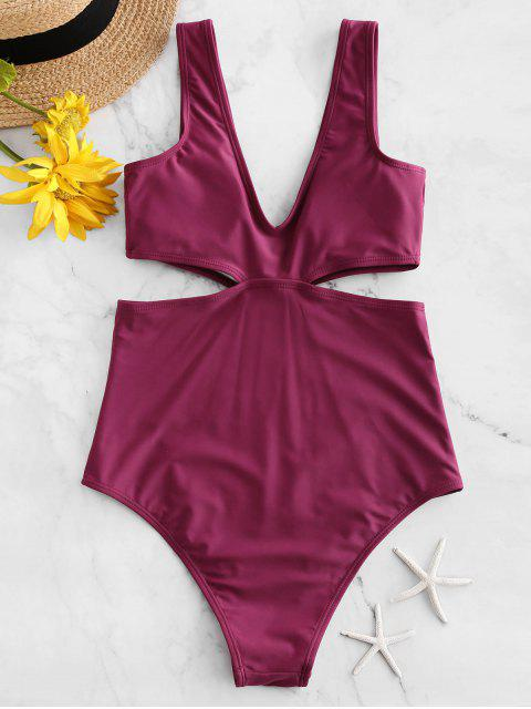 chic ZAFUL Plunge High Cut Cutout One-piece Swimsuit - PLUM PIE M Mobile