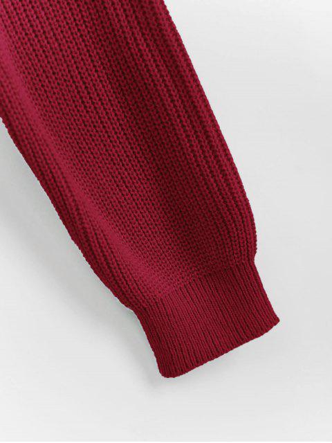 JerseyconCuello en V RecortadoTorcedura Frontal - Rojo Cereza XL Mobile