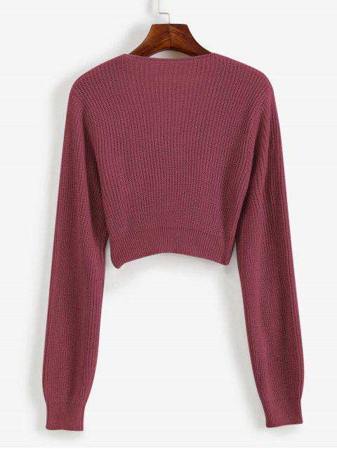 trendy V Neck Cropped Twist Front Sweater - ROSY BROWN XL Mobile