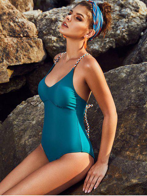 ZAFUL編織跨高切連體泳衣 - 綠藍 XL Mobile