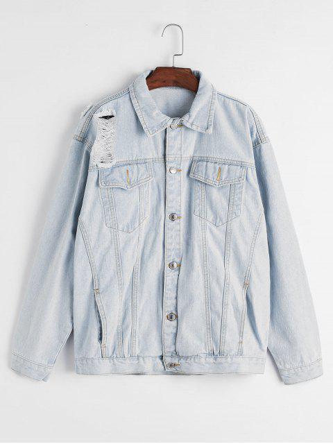 new Ripped Light Wash Pocket Denim Jacket - BLUE S Mobile