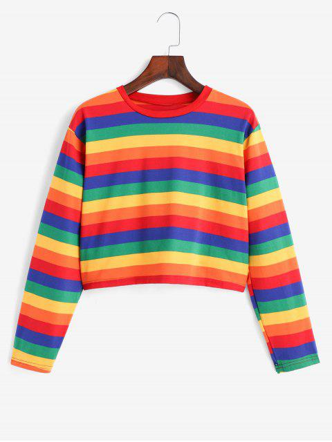 shop Rainbow Striped Short Tee - MULTI ONE SIZE Mobile