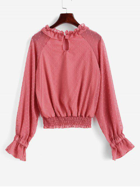fancy Swiss Dot Smocked Poet Sleeves Blouse - LIGHT CORAL XL Mobile