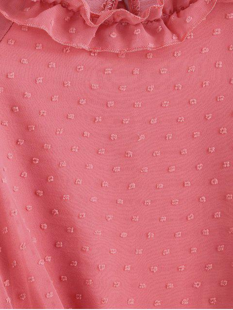 ladies Swiss Dot Smocked Poet Sleeves Blouse - LIGHT CORAL S Mobile