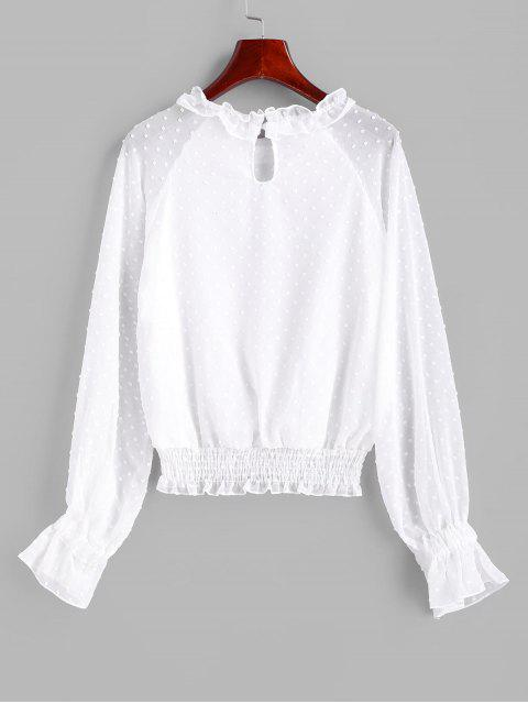 new Swiss Dot Smocked Poet Sleeves Blouse - WHITE XL Mobile