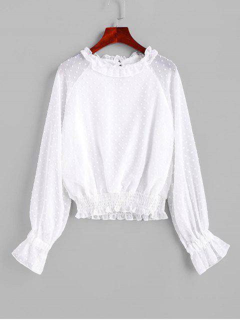 unique Swiss Dot Smocked Poet Sleeves Blouse - WHITE L Mobile