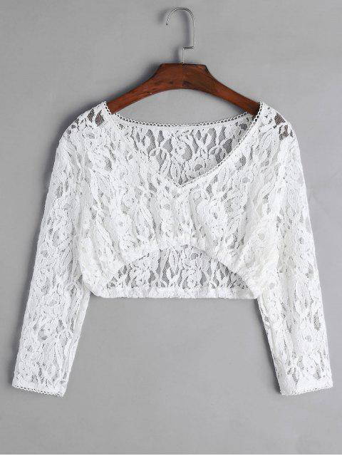 online Floral Lace Plunging Picot Trim Crop T-shirt - WHITE L Mobile