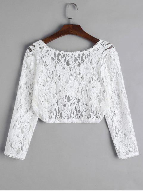 womens Floral Lace Plunging Picot Trim Crop T-shirt - WHITE M Mobile