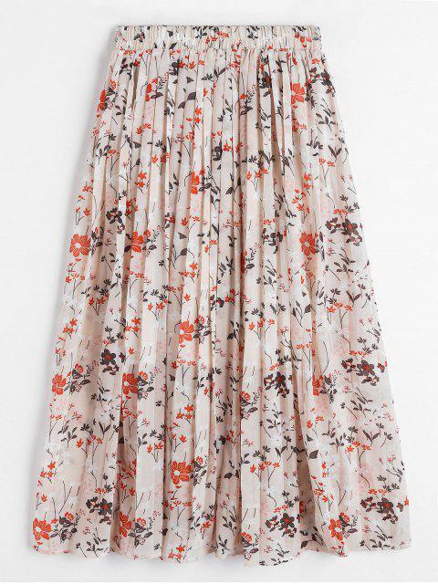 Falda en a Floral Plisada - Color de Melocotón Oscuro Talla única Mobile