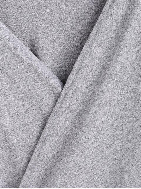 T-shirt Court Chiné Enveloppé à Col V - Gris XL Mobile