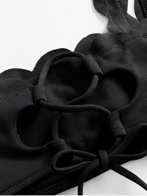 sale ZAFUL Textured Scalloped Bikini Swimsuit - BLACK S Mobile