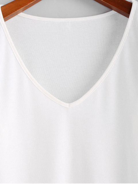 ZAFUL T-shirt Ajusté Plongeant Côtelé - Blanc S Mobile