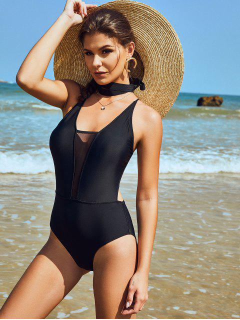 women's ZAFUL Mesh Panel Crisscross Monokini Swimsuit - BLACK L Mobile