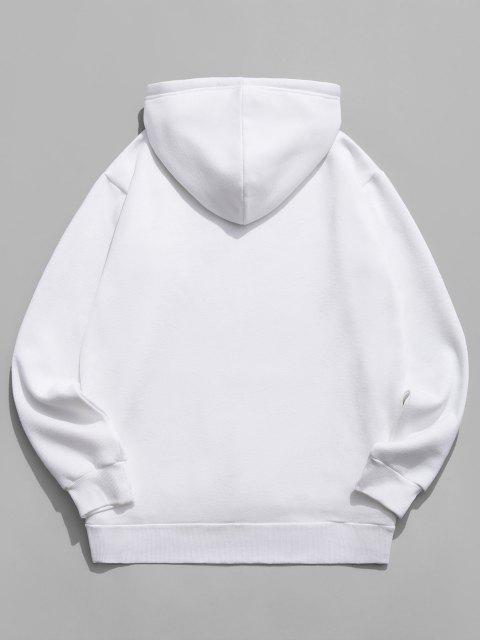 Buchstabe Grafik Amerikanische Flaggendruck Känguru Taschen Hoodie - Weiß XL Mobile