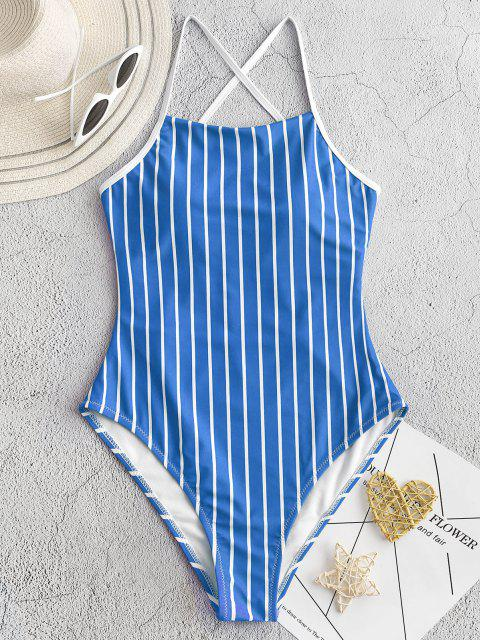 shop ZAFUL Pinstriped Lace-up One-piece Swimsuit - OCEAN BLUE L Mobile
