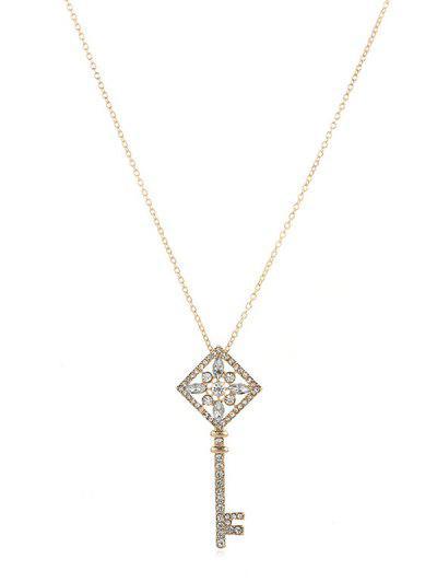 Rhinestone Key Pendant Chain Necklace - Gold