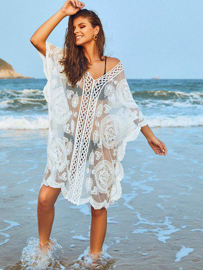 Embroidered Sheer Mesh Kaftan Dress - White