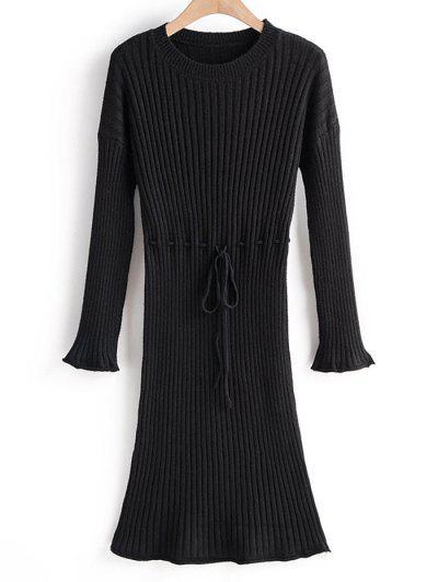 Robe Pull Côtelé à Goutte Epaule à Taille Nouée - Noir