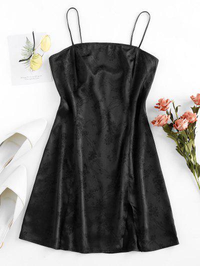 ZAFUL Velvet Jacquard Front Slit Party Dress - Black S