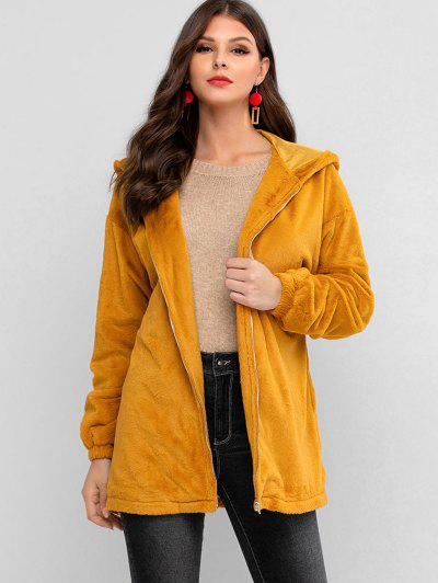 ZAFUL Zip Up Faux Fur Hooded Knotted Coat - Tiger Orange M