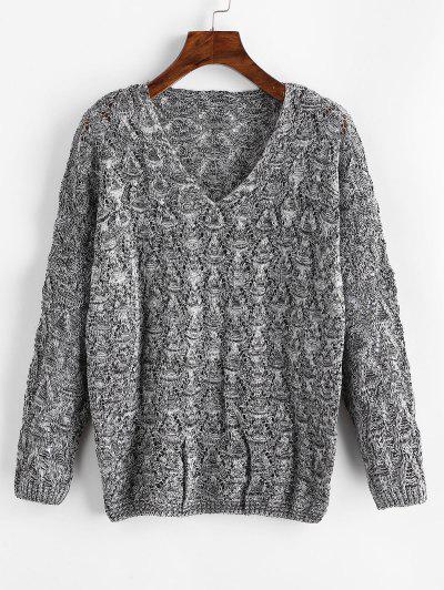 Mixed Yarn Batwing Sleeve Open Knitwear - Gray