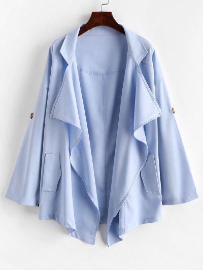 Waterfall Roll Tab Sleeve Turndown Collar Blazer - Blue L