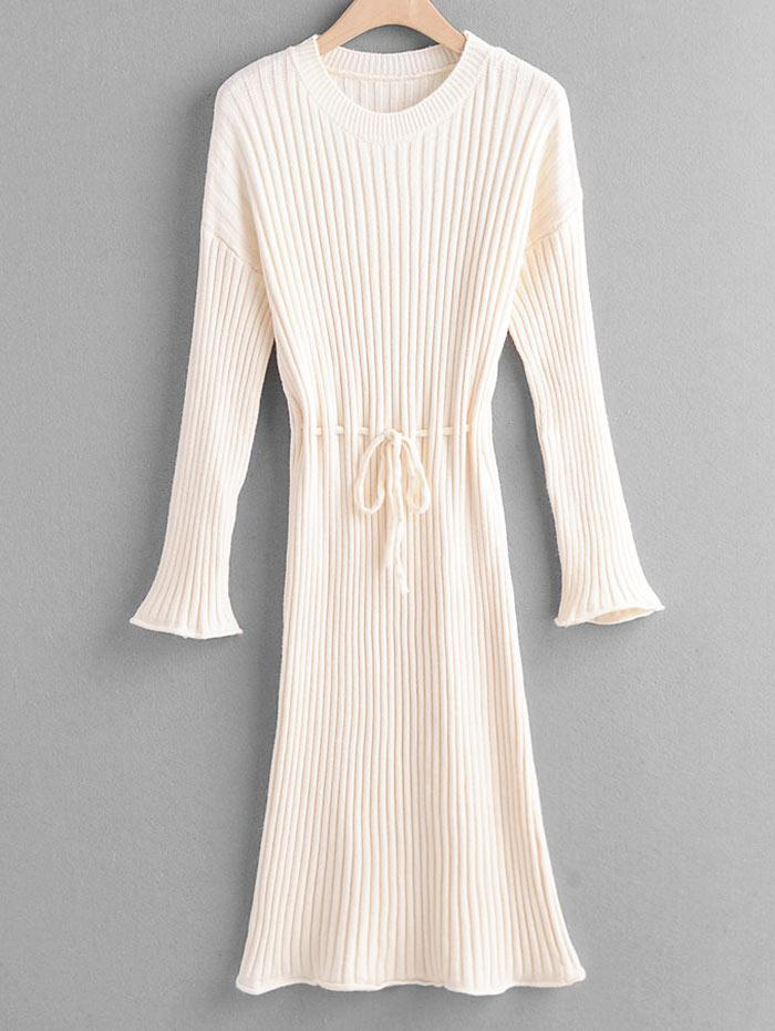 Tie Waist Drop Shoulder Ribbed Sweater Dress