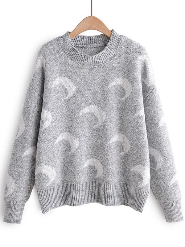 Moon Print Drop Shoulder Pullover Sweater фото