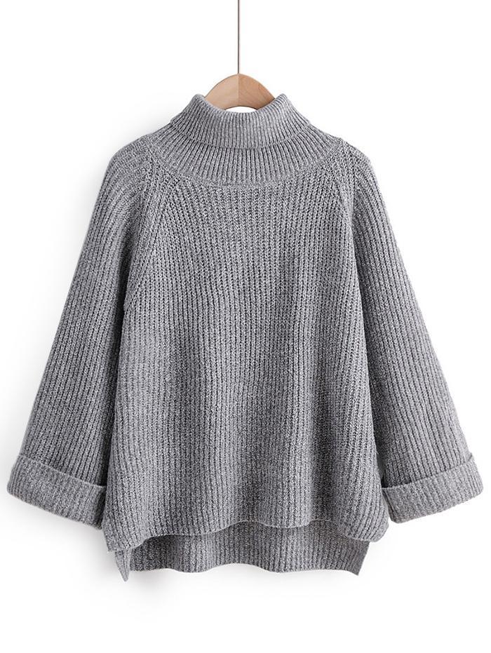 Turtleneck Side Slit High Low Sweater