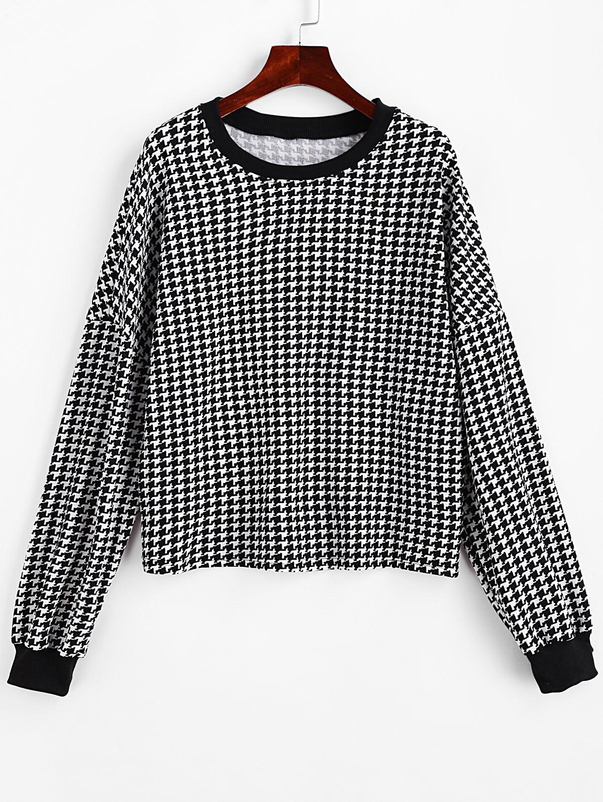 Houndstooth Drop Shoulder Pullover Sweatshirt