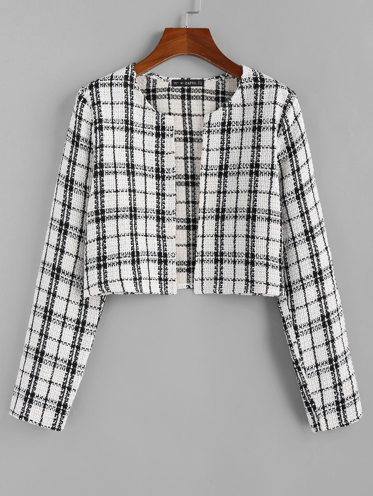 ZAFUL Plaid Tweed Jacket