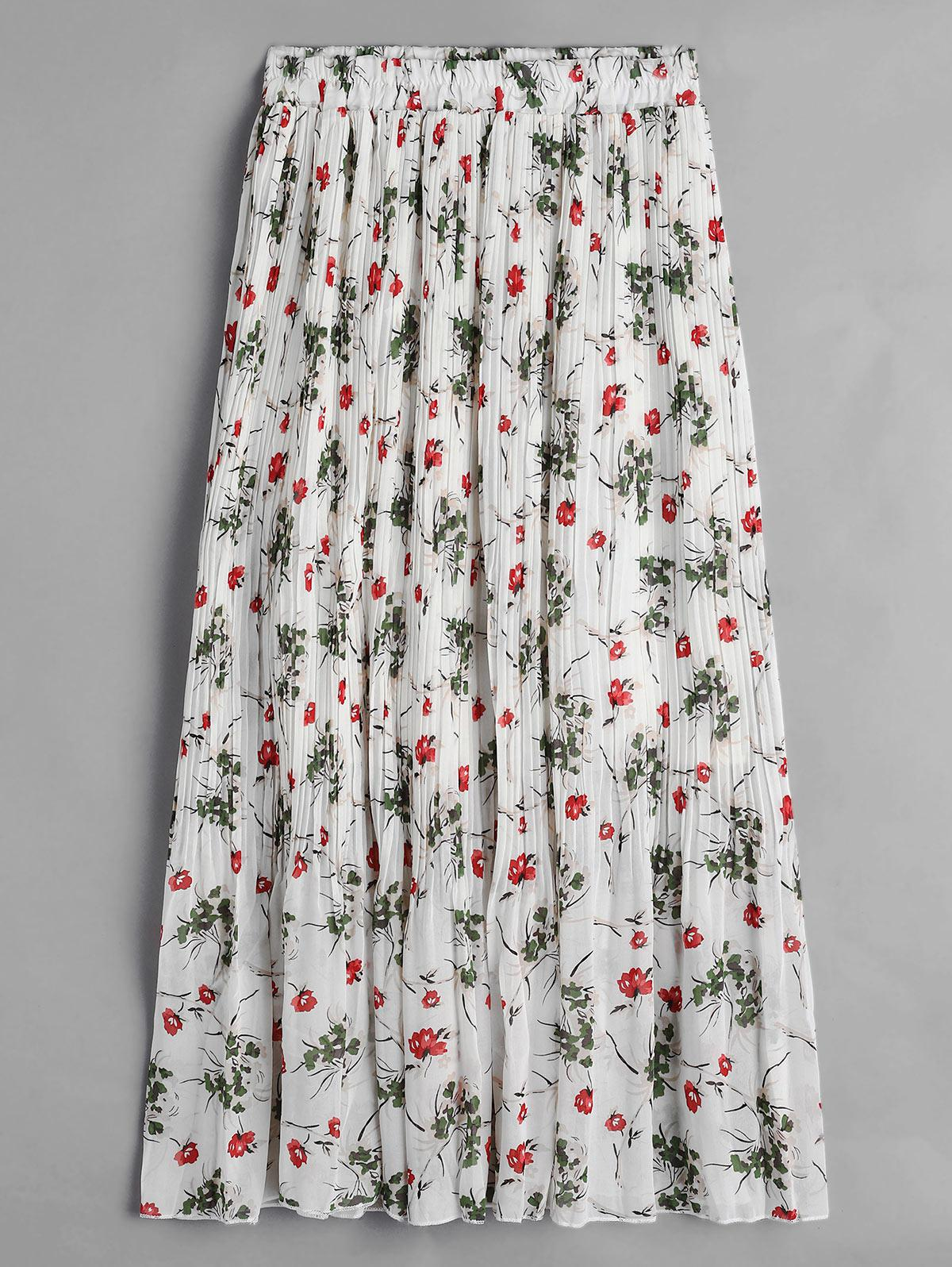 Floral Chiffon Pleated Midi Skirt