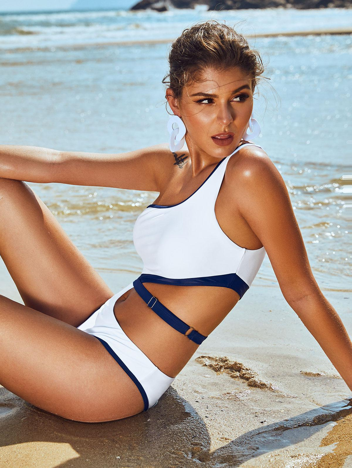 ZAFUL Contrast Piping Cutout One Shoulder One-piece Swimsuit фото
