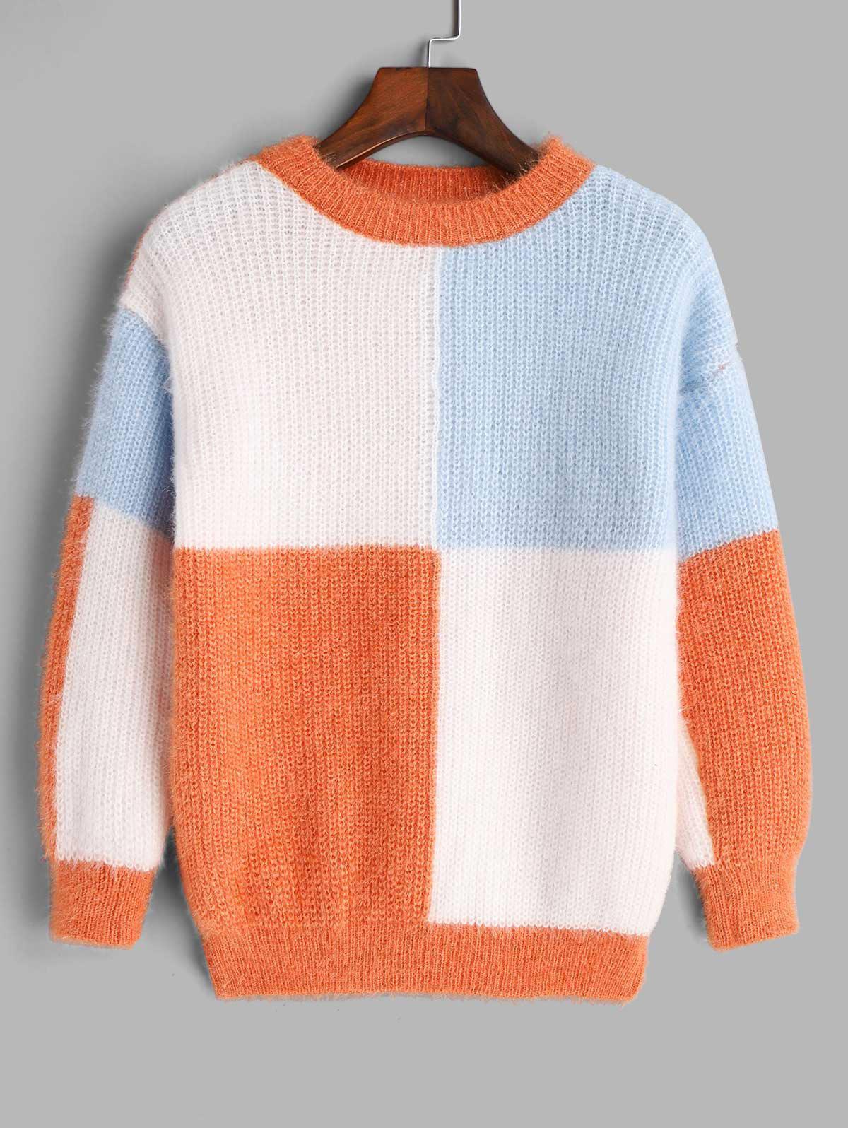 Crew Neck Colorblock Fuzzy Sweater