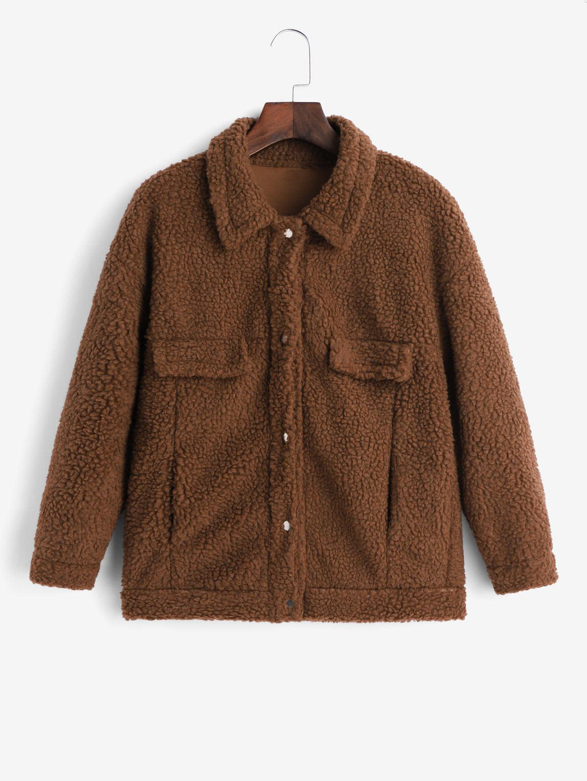 Snap Button Faux Pockets Solid Teddy Jacket